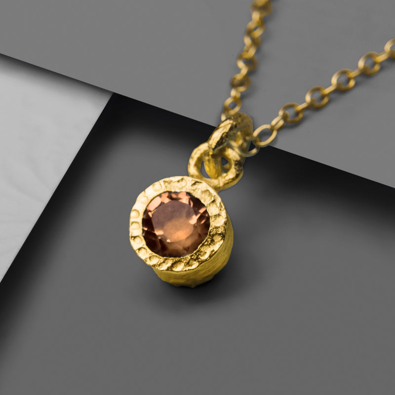 Gold And Smokey Quartz Round Pendant