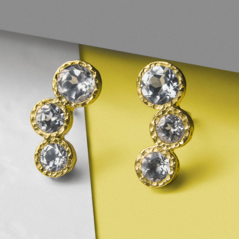 Gold And White Topaz Graduating Earrings