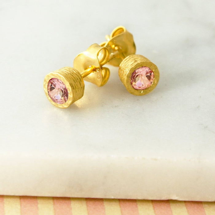 Pink Tourmaline Birthstone Gold Necklace