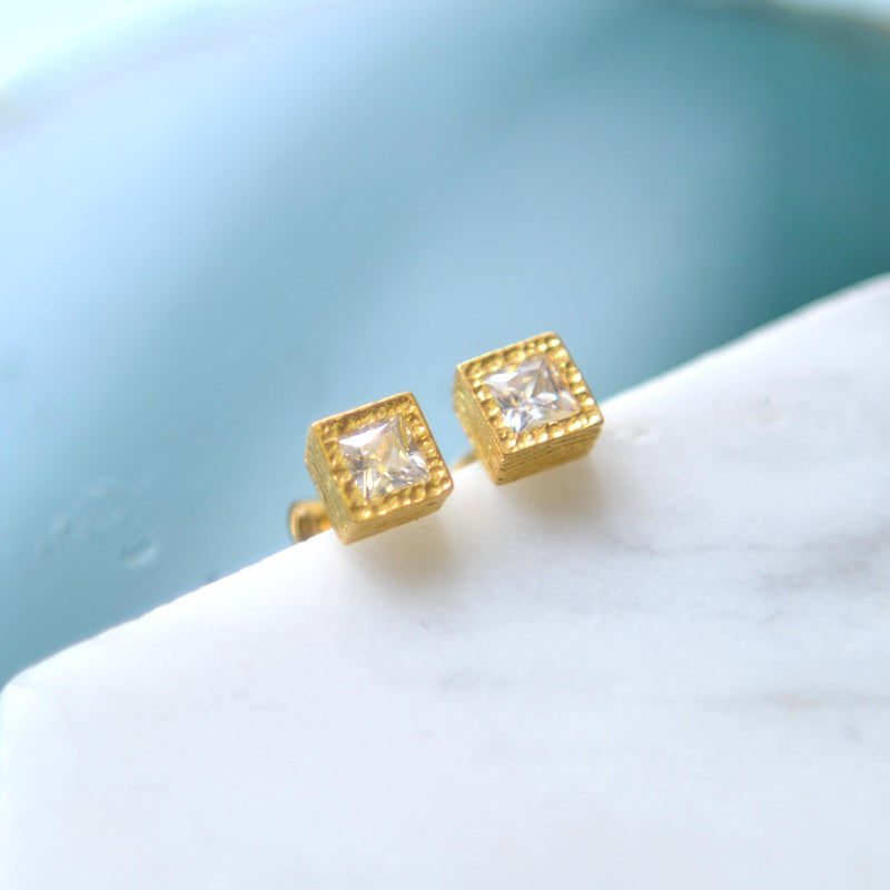 Rose Gold / Yellow Gold Square White Topaz Stud Earrings