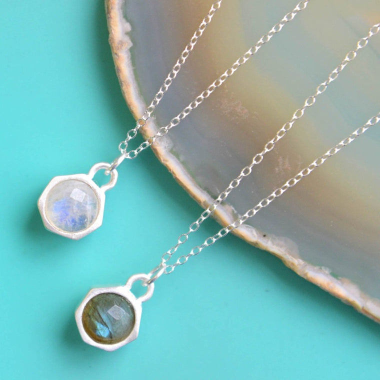 Moonstone And Labradorite Charm Silver Necklace