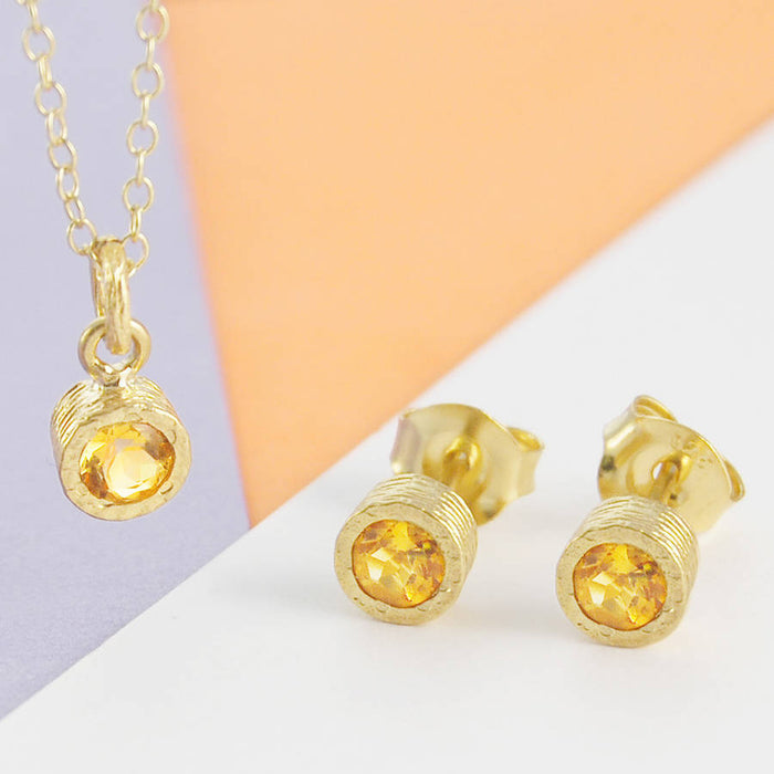 Silver Citrine Birthstone Round Stud Earrings