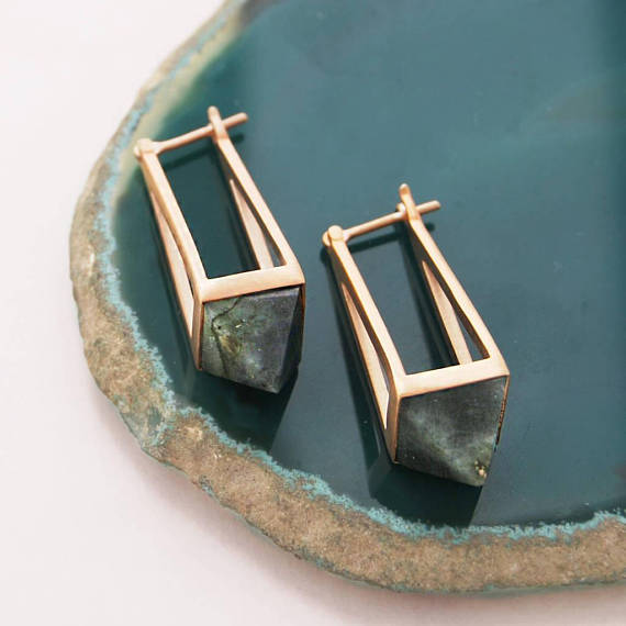 Rose Gold Labradorite Geometric Earrings