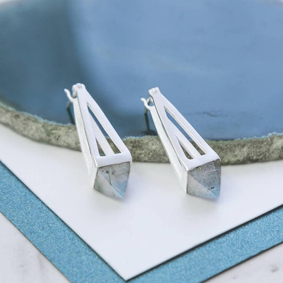 Silver Labradorite Geometric Drop Earrings