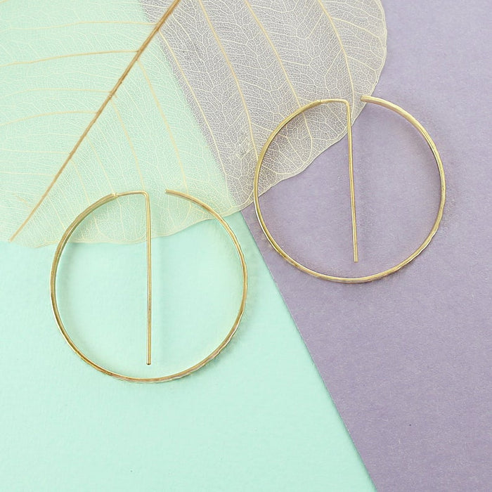 Geometric Round Rose Gold Hoop Earrings