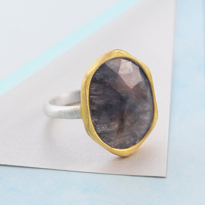 Smokey Sapphire Birthstone Gold Silver Cocktail Ring