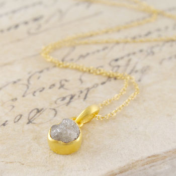 18 K Rough Diamond Gold Solitaire Birthstone Necklace