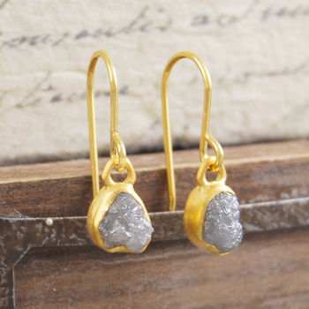 18 K Plated Birthstone Diamond Gold Drop Earrings