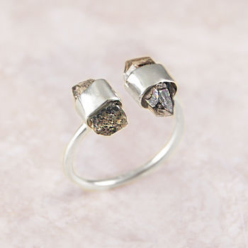 Adjustable Silver Double Herkimer Diamond Ring