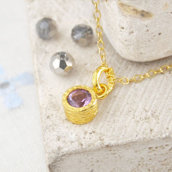 Gold Amethyst Purple Birthstone Necklace