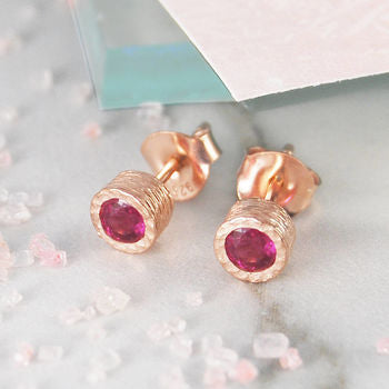 Ruby Birthstone Rose Gold Earrings