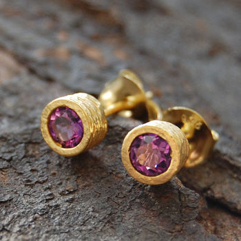 Gold Amethyst Birthstone Round Stud Earrings