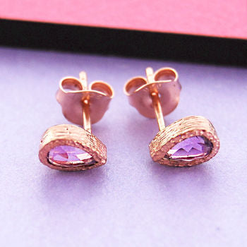 February Birthstone Amethyst Rose Gold Teardrop Studs