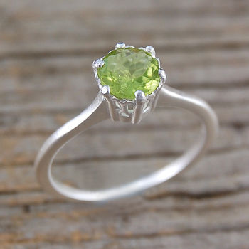 Peridot Solitaire Engagement Sterling Silver Ring