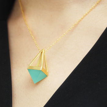 Aqua Chalcedony Gold Long Pendant Necklace