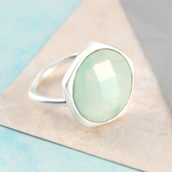 Aqua Chalcedony Gemstone Sterling Silver Ring