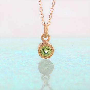 Solitiare Peridot Birthstone Rose Gold Necklace