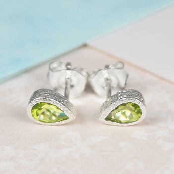 Rose Gold Peridot Tear Drop Stud Earrings
