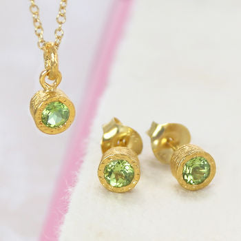 Round Peridot Birthstone Gold Jewellery Set