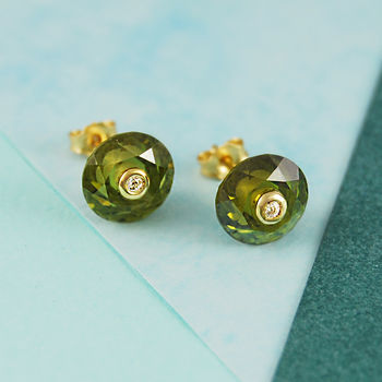 Peridot Birthstone Topaz Gemstone Gold Stud Earrings