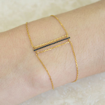 Black Spinel Bar Gold Chain Bracelet