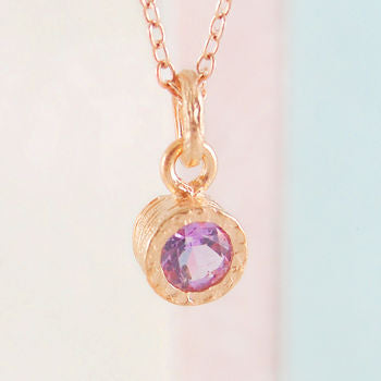 Amethyst February Rose Gold Gemstone Jewellery Set