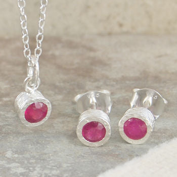 Birthstone Ruby Sterling Silver Necklace