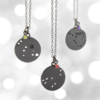Black Oxidised Silver Birthstone Horoscope Necklace