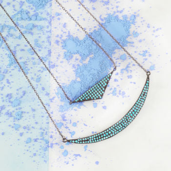Black Oxidised Turquoise Birthstone Layered Necklace