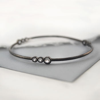 Oxidised Silver White Topaz Multi Stone Bangle