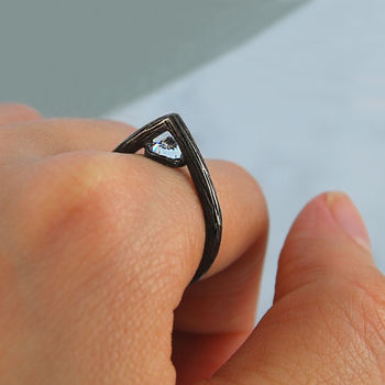Black Oxidised Silver Geometric Faceted Topaz Ring