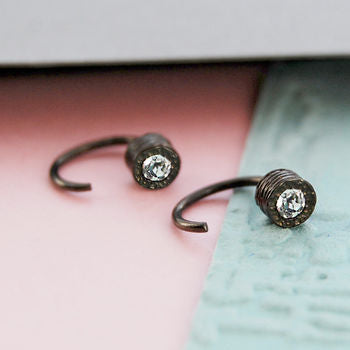 Black Oxidised Silver Topaz Hoop Stud Earrings