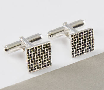 Black Zircon Geometric Unisex Sterling Silver Cufflinks