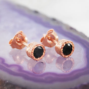 Black Spinel Gemstone Rose Gold Earrings