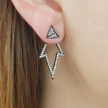 Sterling Silver Two Way White Topaz Ear Jackets