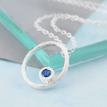 Blue Sapphire September Birthstone Rose Gold Necklace