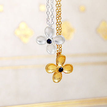 Blue Sapphire Birthstone Flower Gold Silver Necklace