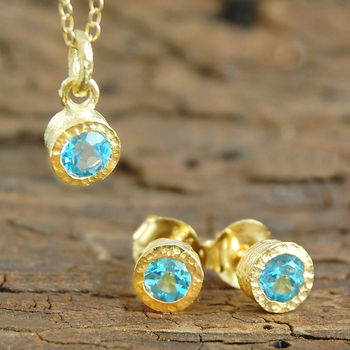 Gemstone Blue Topaz Gold Jewellery Gift Set