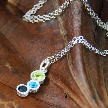 Gemstone Tourmaline Topaz Birthstone Silver Necklace