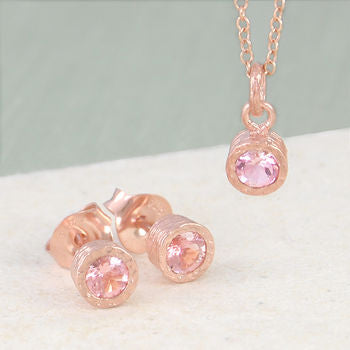 Blush Pink Tourmaline Rose Gold Birthstone Necklace