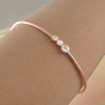 Cellular Rose Gold And White Topaz Bangle