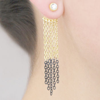 Gold Oxidised Silver Chain Drop Ear Jackets