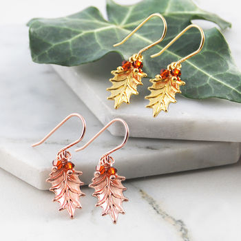 Holly Leaf Garnet Gold Drop Earrings