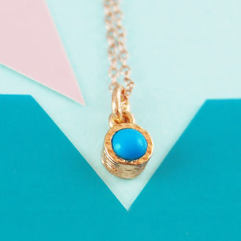 Genuine Turquoise Birthstone Rose Gold Necklace