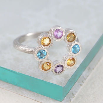 Citrine Birthstone Assorted Gemstone Silver Ring