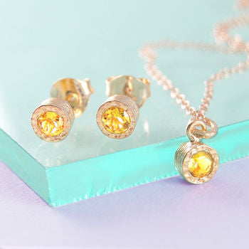 Citrine November Birthstone Rose Gold Gift Set