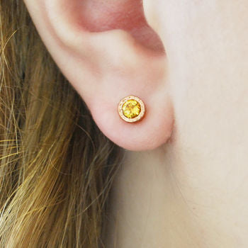 Citrine November Birthstone Rose Gold Stud Earrings