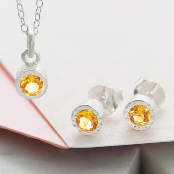 Citrine November Birthstone Silver Jewellery Gift Set