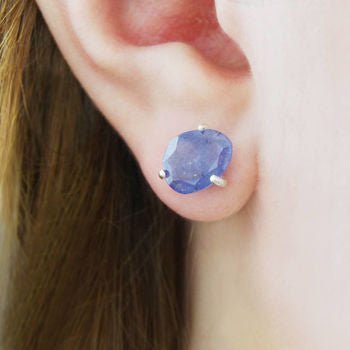 Gold Bezel Tanzanite Birthstone Stud Earrings