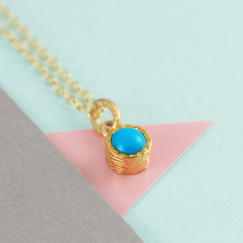 Fine Turquoise Birthstone Round Gold Necklace